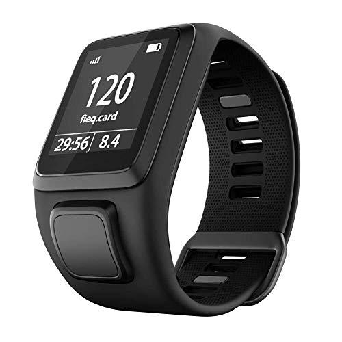 Yanchad Smartwatch Silikon-Ersatz-Uhrenarmband kompatibel for Tomtom 2 3 Series Runner 2 3 Spark Series Golfer 2 Smart Armband Sportarmband Mode tragbar (Color : Schwarz)