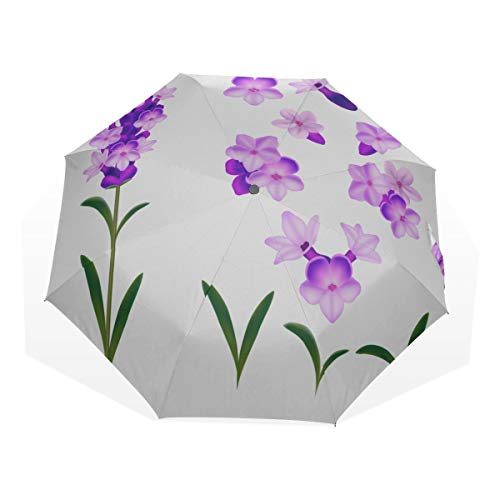Rain Umbrella For Kids Lavender Purple Charming Flowers 3 Fold Art Umbrellas(outside Printing) Rain And Sun Umbrella Sun Protection Umbrellas Bike Rain Umbrella