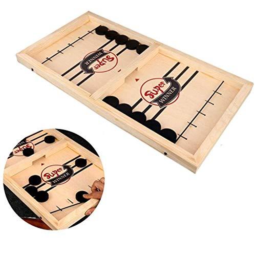 Younoo Schnelles Sling Puck Spiel, Brettspiel Hockey, Fast Sling Puck Game, Holzhockeyspiel Tischspiel, Brettspiel Katapult Schach, Spiel Stoßstange Desktop-Spiel für Kinder Erwachsene (Weiß)