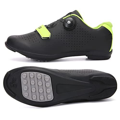 KUXUAN Zapatos de ciclismo para hombre y mujer, zapatos de bicicleta de carretera, zapatos de caballo, zapatos de pelotón, negro-47EU