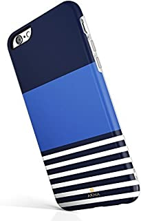 """iPhone 6 6s case for girls, Akna New Glamour Series [All New Design] Flexible Soft TPU cover with Fabulous Glossy Pattern for both iPhone 6 & iPhone 6s(4.7""""iPhone) [Navy Blue Stripes](16-U.S)"""