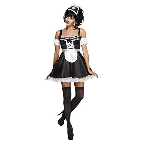 Smiffy's - Damen Super Sexy Flirty Französische Maid Kostüm Rocky Horror Picture Show - Schwarz Weiß, 40-42