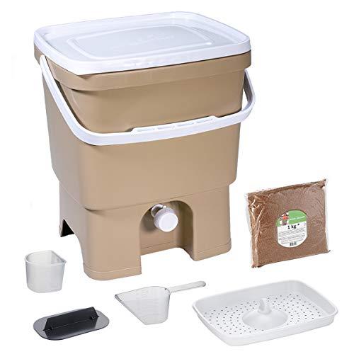 Skaza Bokashi Organko (16 L) Compostiera per Giardino e Cucina in plastica Riciclata | Starter Set con Miscela di fermentazione Bokashi Organko 1 kg (Cappuccino-Bianco)