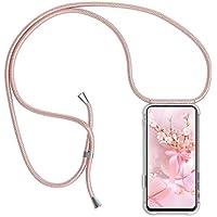 Funda con Cuerda para Huawei P8 Lite 2017, Carcasa Transparente de TPU con Ajustable Colgante [Anti-Choque] Anti-rasguños Suave Silicona Caso - Oro Rosa