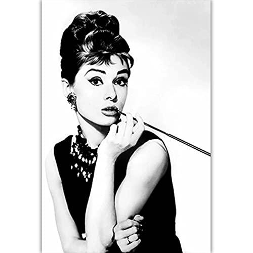 Czarno-biała sztuka fotograficzna Audrey Hepburn obraz na płótnie Nordic plakaty drukuj Salon Home Decor C25 50 × 70 CM bez ramki