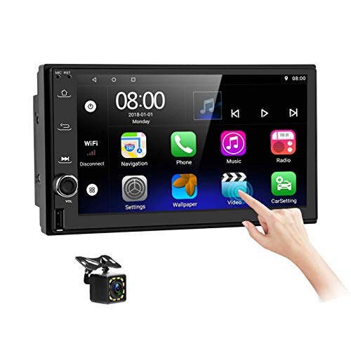 Android Car Stereo Double Din with Navigation7 Inch HD Touch Screen Car Multimedia Radio Audio Support Bluetooth FM GPS WiFi USB Port Phone Mirror Link Split Screen with Backup Camera