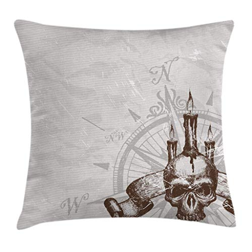 Shenguang Compass with Skull and Candles Spooky Adventure New Pirate Destinations Theme Grey Throw Pillow Cover Home Sofa Decorative (18x18 inch)
