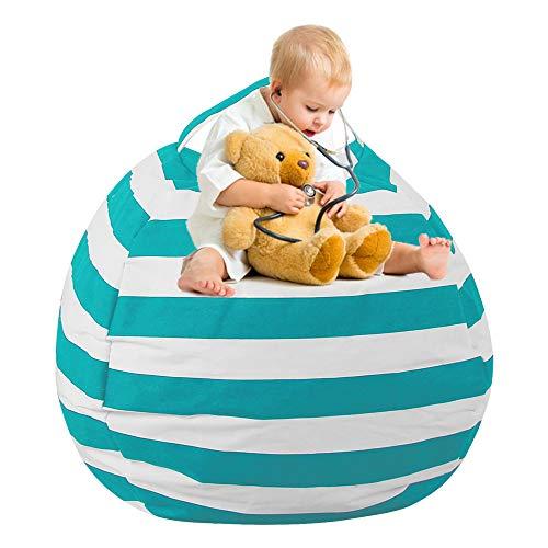 willkey Kuscheltiere Aufbewahrung Sitzsack Extra Große Aufbewahrungstasche 24'' Kinder Spielzeug Aufbewahrung Flauschigen Liege Sofa für Kinder Erwachsene Sitzen und Schlafen (Grün)