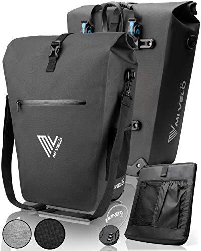 MIVELO Fahrradtasche - Gepäckträgertasche wasserdicht mit Laptopfach, Schloss & Schultergurt - Fahrrad Tasche für Gepäckträger schwarz