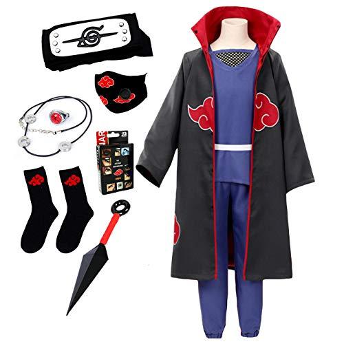 LCXYYY Disfraz de Anime Naruto Adulto Unisex Akatsuki/Uchiha Itachi Capa de Cosplay Abrigo Disfraces de Carnaval de Halloween Navidad Fiestas Trajes y Accesorios