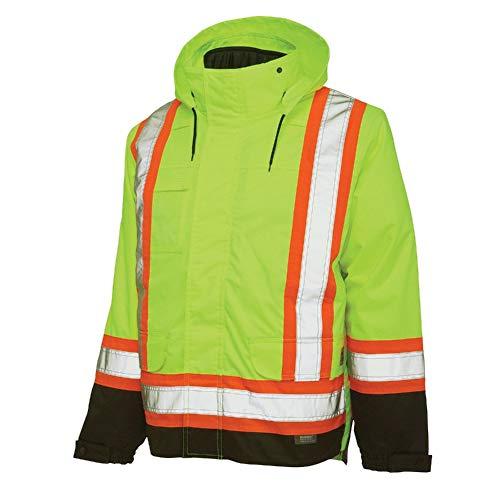 Work King Safety Men's Hi Vis 5-in01 Safety Jacket, FLGR, XL