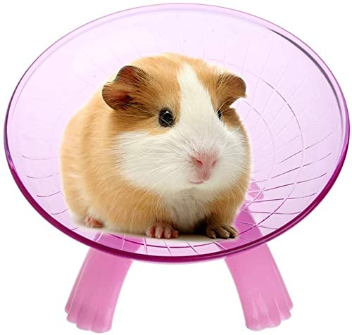 Litewood Hamster Flying Saucer Exercise Wheel Silent Jogging Running Spinner Wheel Toy for Small Animal Chinchilla Gerbil Rat Guinea Pig Mice Squirrel (Pink)