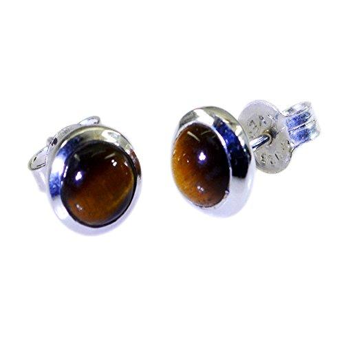 Gemsonclick Pendiente natural del ojo del tigre para las mujeres 925 de la plata esterlina de la manera de la joyería de la manera de la forma