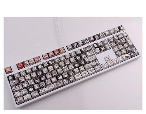 juqingshanghang1 108Key PBT Keycap-Farbstoff-Sublimation OEM-Profil Japanischer Anime-Keycap für mechanische Tastatur (Color : Black)