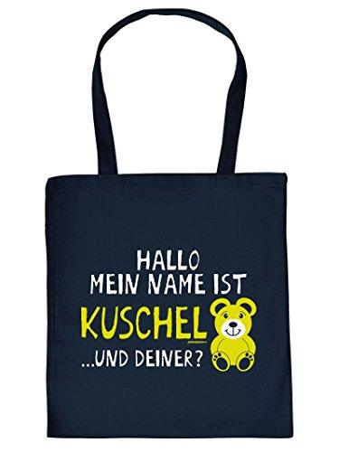Angesagter Stoffbeutel/Umhängetasche mit Motiv: Hallo mein Name ist Kuschelbär... und Deiner?