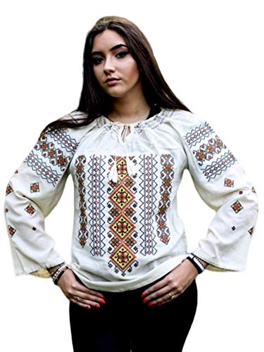 Romanian Shirt Traditional Ie Romanian Gift Costume Womens Top Black Blouse Red (Large)