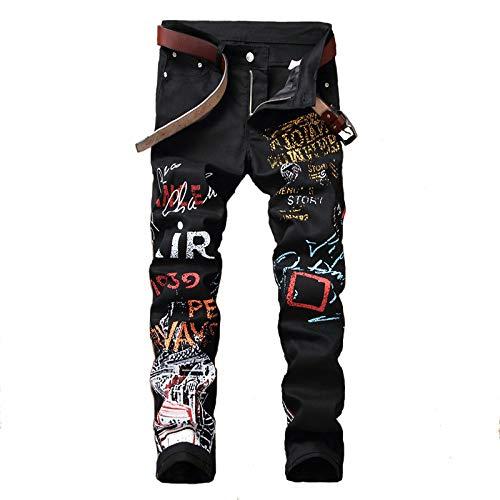 Jubaton Jeans da Uomo Jeans Elasticizzati con Stampa Graffiti di Tendenza Europea e Americana Jeans di personalità Hip-Hop 34