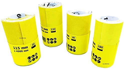 Set von 4 Schleifpapier-Rolle K- 60 80 120 180 Körnung für Holz und Farbe // ALLDREW Schleifrolle 115mm x 4,5m