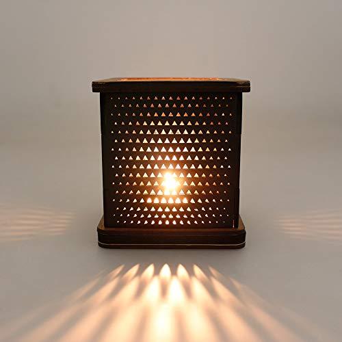 G4 DANSK Porta Velas Decorativo MDF enchapado. Diseño Triángulos. 11.2 x 11.2 cm. Base y encimera Caoba, Pantalla Negro