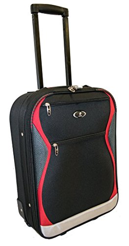 Azure Travel Cabin Bag - Hand Luggage Suitcases for Travel - Lightweight Carry-On Luggage Trolley Trip Suitcase – Expandable Travel Case with 2 Wheels (Black/Red, 18 inch)
