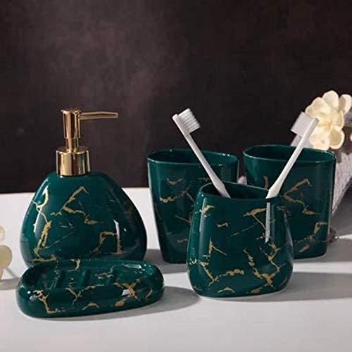 JZDH Kit de baño de cerámica Accesorios de baño Conjunto Lavado japonés Cinco o Seis Piezas Set Simple Bathroom Supplies Kit de Accesorios de baño (Color : Green)
