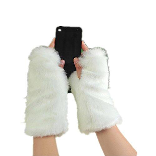 Fingerless Fur Gloves-Smooth Furry Gloves-Soft Fuzzy Women,Girls Warmer Gloves