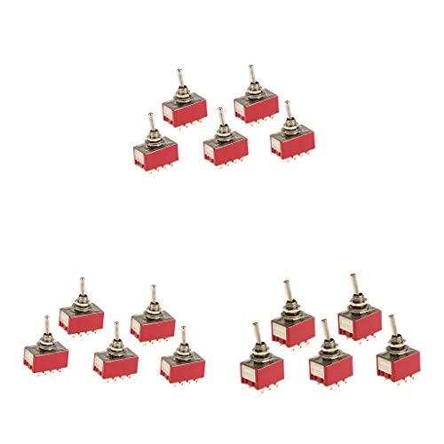 SDENSHI 15 Piezas en/sobre Pequeño Interruptor de Palanca 9/12 Pin Modelo 3 / 4pdt Rojo