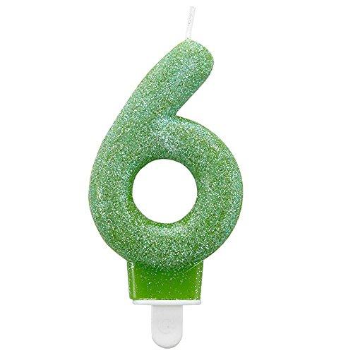 amscan - Vela Brillante con número para cumpleaños (2) (Verde)