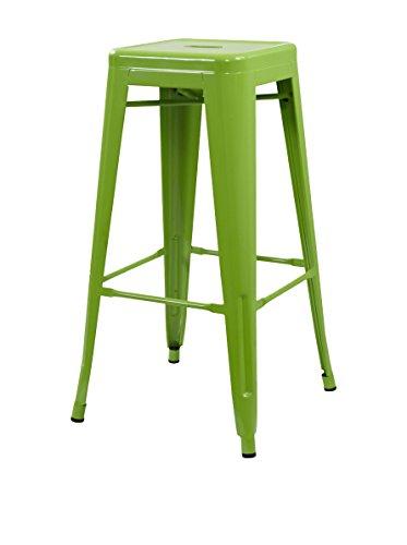Lo+DeModa Hight Ural Set Di 2 Sgabello, Acciaio, Verde chiaro, 44x115x5 cm