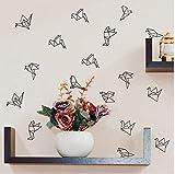 Calcomanías de pared de pájaros de origami geométricos Decoración de arte de vivero, pegatinas de pared de vinilo de pájaros voladores geométricos Sala de estar Decoración de pared moderna