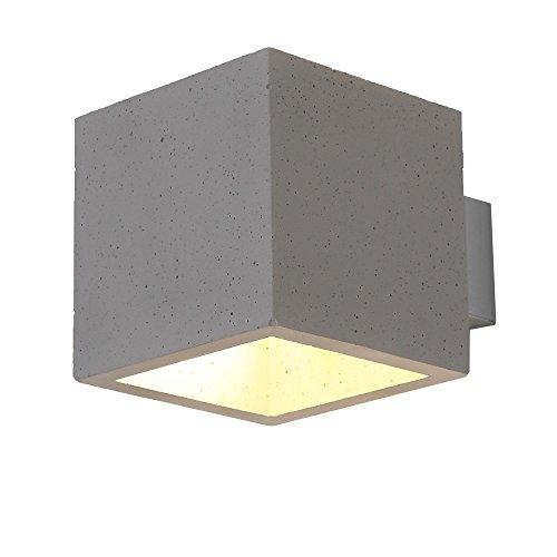 Beton Wandleuchte LED 5W | Wandstrahler up + down | Betonleuchte 13x13cm | Wandlampe Würfel modern...