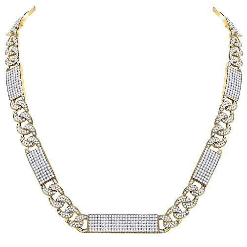 The Diamond Deal 10kt Yellow Gold Mens Round Diamond Cuban Link Rectangle Ice Necklace 24-1/2 Cttw