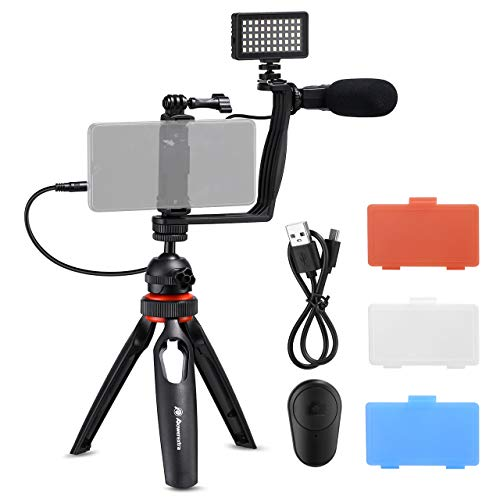 Powerextra Smartphone Video Stabilizer Rig Kit with Microphone + Light Diffuser +...