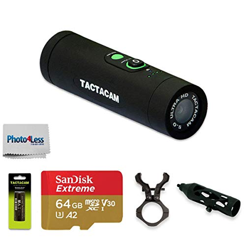 TACTACAM Ultimate 5.0 Package Wi-Fi-Hunting Action Camera with Bow Stabilizer + Free Extra Rechargeable Battery + 64GB microSDXC Memory Card with Adapter + Custom Gun Mount + Cleaning Cloth