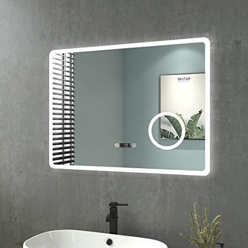welmax Badspiegel mit Beleuchtung LED Badezimmerspiegel Wandspiegel Lichtspiegel Wasserdicht IP44, Energieklass A++ (80x60cm Touch+Beschlagfrei+Uhr+3-Fach Vergrößerung, Rechteck | Stil E)