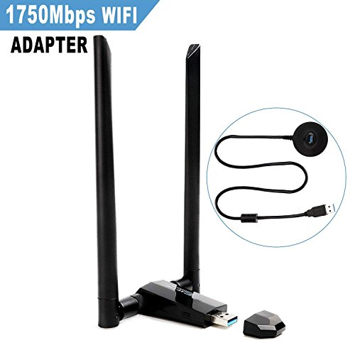 ANEWISH 1750Mbps Adattatore WiFi USB 3.0 con 2 Antenna Chiavetta WiFi 5dBi Dual Band 2.4G 450M/ 5G 1300M Scheda WiFi 802.11ac Ricevitore WiFi per PC W