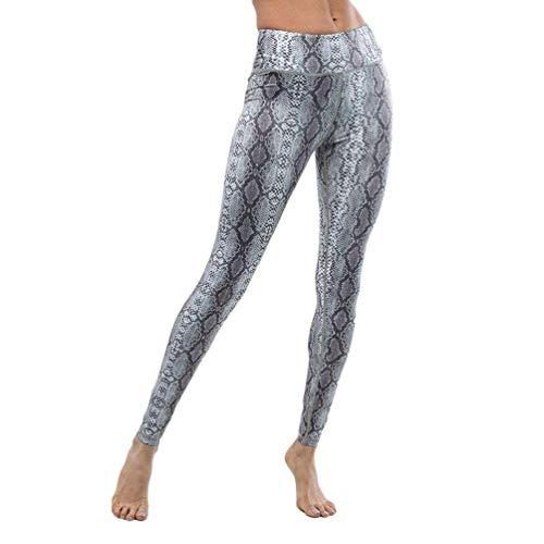 BOLAWOO Damen Yoga Hosen Schlangenmuster Hohe Party Taille Stil Fitness Sport Leggings Sportlichen Stretch Trousers Jogginghose (Color : Grau, Size : M)