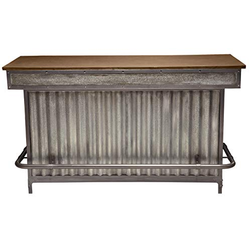 Right2Home Wood and Metal Home Bar, Silver