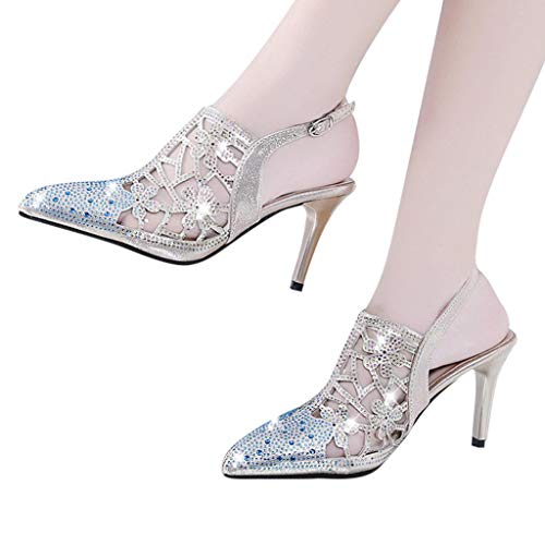 Find Bargain Xinantime Womens Pointed-Toe Crystal Buckle High Heels Sandals Classic Elegant Shoes (G...