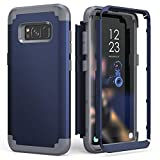 Galaxy S8 Case, Galaxy S8 Case Blue for Men Boys, IDweel 3 in 2 Shockproof Slim Hybrid Heavy Duty Protection Hard PC Cover Soft Silicone Rugged Bumper Full Body Case, Blue