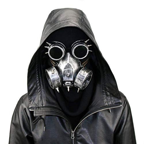Atrumly Steampunk Gasmaske mit Spikes, Skelett, Krieger, Todesmaske, Maskerade, Cosplay, Halloween, Kostüm-Requisiten