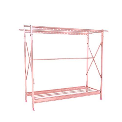 Tendedero de secado de aluminio Percha plegable no oxidante Doble varilla retráctil Cool Hanger Home móvil balcón secadero (Color: Rosa)