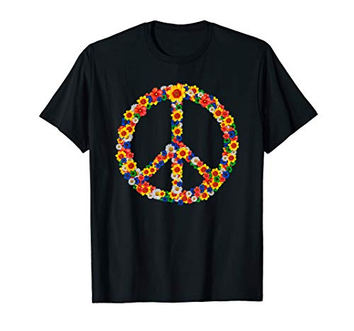 Peace Love 60er 70er Jahre Flower Power Hippie Outfit T-Shirt