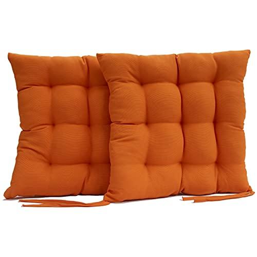 Bemitus - Pack Cojines para Silla y Asiento - Acolchado 9 Pespuntes de Relleno Fibra Poliéster con Cremallera - Tiras de Atar - Confeccionado en España, Oeko-Tex Hipoalergénicas (Naranja, Pack 2)