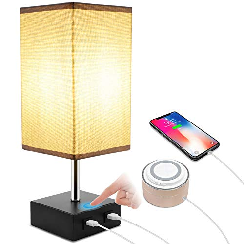 ENCOFT Touch Lámpara de noche, lámpara de mesa regulable con 2 puertos de carga USB y 1 bombilla blanca cálida, para dormitorio, oficina, sala de estar, habitación de los niños (pantalla cuadrada)