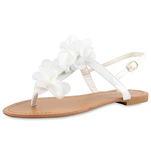 SCARPE VITA Modische Damen Sandalen Blumen Zehentrenner Sommer Schuhe 164119 Weiss Blumen 39
