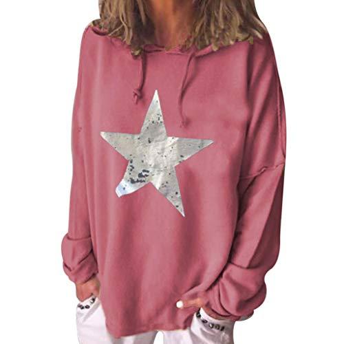 KUKICAT Damen Sweatershirt Groß Großer, Einfarbiger Kapuzenpullover mit Sternenmuster, Bedrucktes Sweatshirt