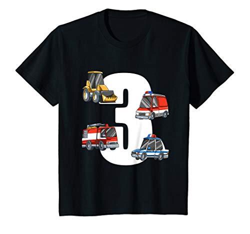 Kinder Rettungswagen und Bagger - 3 Jahre Kindergeburtstag T-Shirt