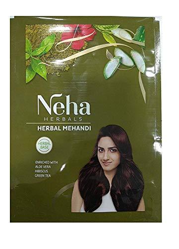 Neha Herbal Mehandi 100% à base de plantes enrichi avec du thé vert, Aloe Vera, Habiscus 140gm