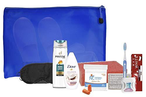 Set Körperpflegeprodukte für den Heim- oder Krankenhausgebrauch mit Colgate,Pantene,Taube,Normaler Klinik,Zahnbürste,Olivenseife, Feuchttüchern,Schwamm,Schlafmaske,Seifenetui,Ohrstöpseln,Hausschuhen